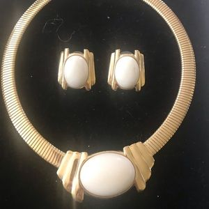 Gold Choker Necklace with Matching Earrings